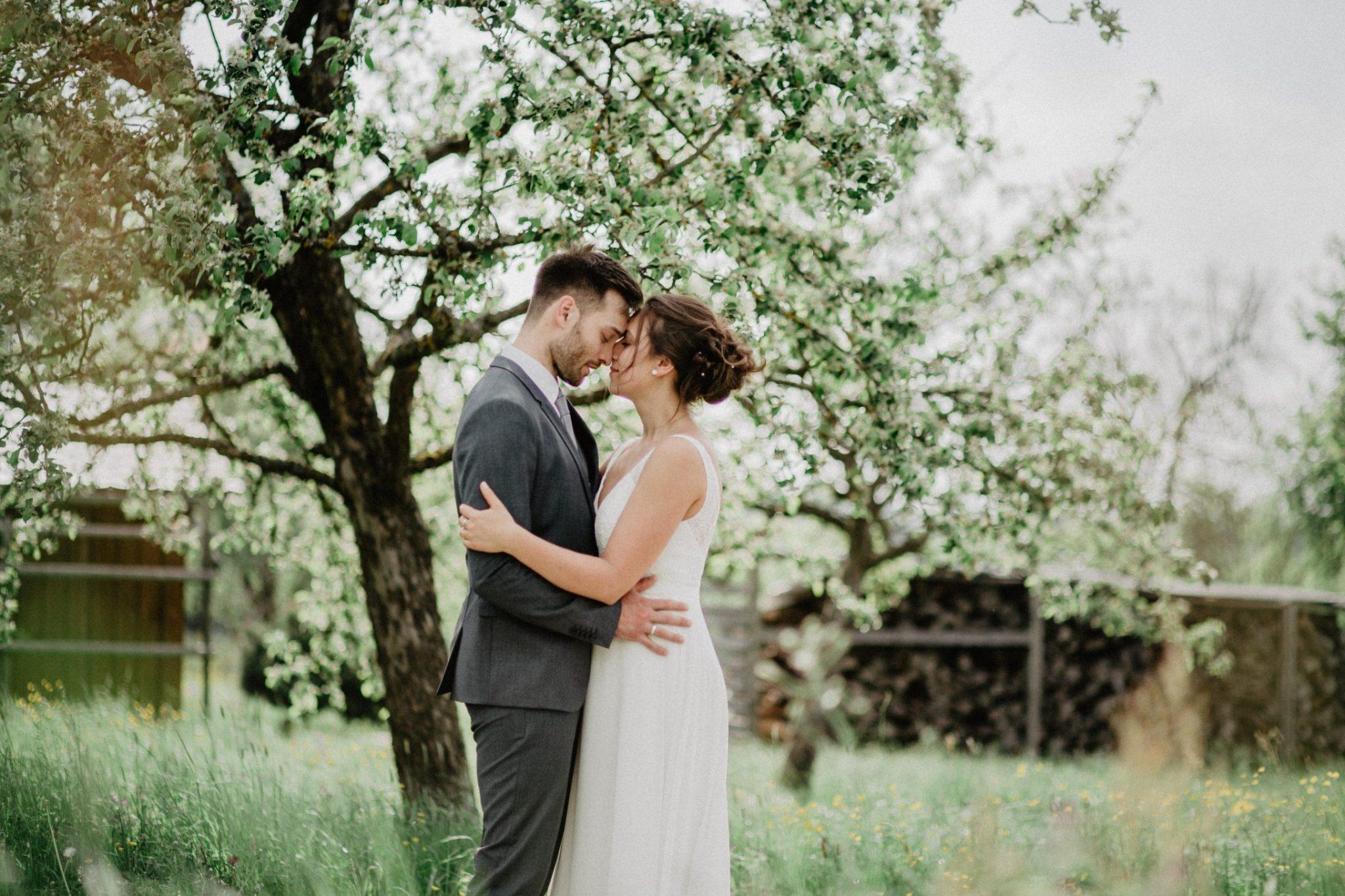 Verliebtes Braupaar, steht auf einer wieße und küssen sich